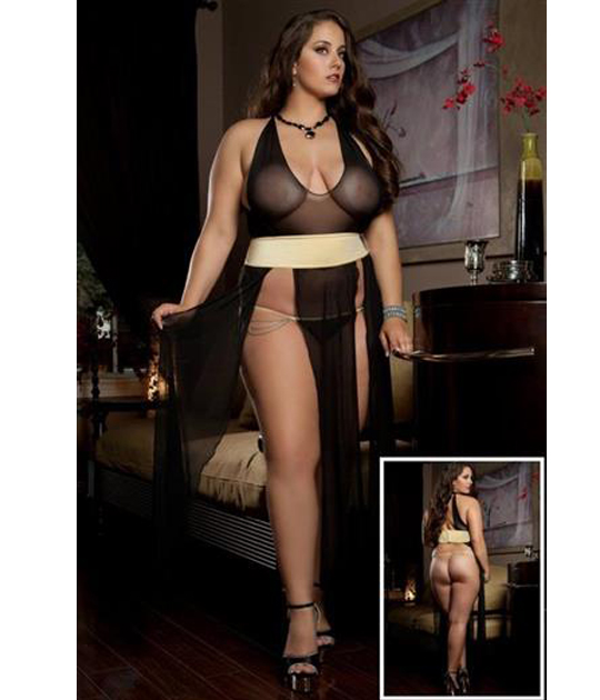 D1325P - 1x 2x Sexy Diva Dress Blk Daisy