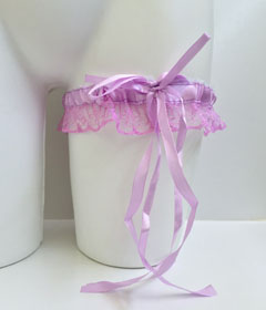 Lace Garter With Ribbon Bow - Lilac