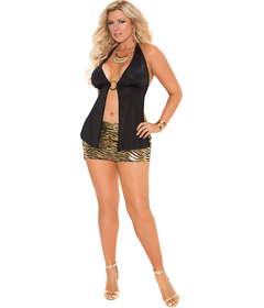 2426 - Zebra Mini Skirt BlkGold 1X 2X