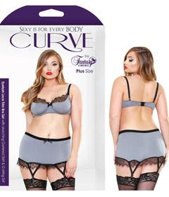 Curve Lace Trim Bra Set 3x4x