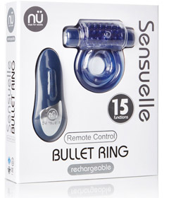 Sensuelle Remote Control Bullet Ring Blue
