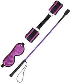 SET050PURP - Blinfold, Whip, Crop Purple
