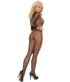 EM Long Sleeve Fishnet Body-stocking Black OS