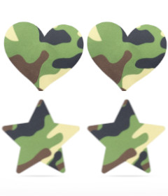 Camo Stars and Heart Nipple Pasties 2pk