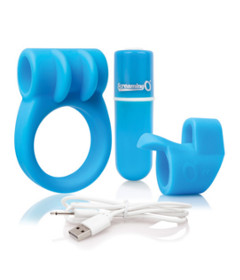Screaming O Charged Combo Ring & Finger Vibe Blue