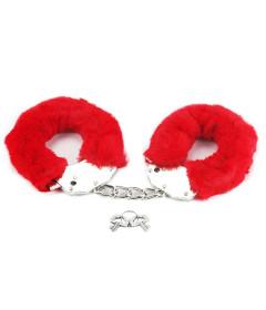 Lovetoy Fluffy Hand Cuffs Red