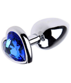 PLU002BLUS Small Metal Plug Heart Blue