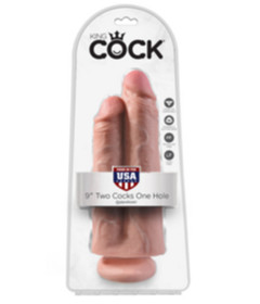 King Cock 9in - 2 Cocks One Hole Flesh