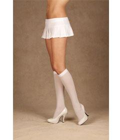 1502 - White Opaque Knee-hi Socks QUEEN