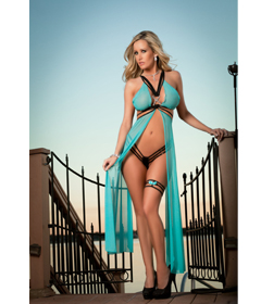 L1307 - Aqua 2pc sexy Enhanced Gown