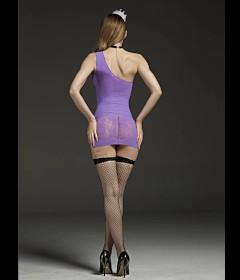 Rimes 7081 Purple One Shoulder Dress