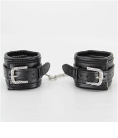 B-HAN17 Black Wrist Cuff with Diamantes