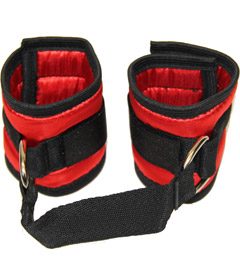 HAN036 Satin Handcuffs Red