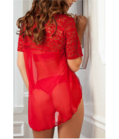 D1750 - 2pc Lacy Teddy & Robe Vermillion OS