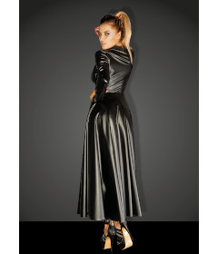NOIR F128C POWER WET LOOK GOWN COAT SML