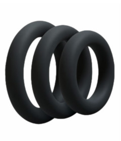 RIN027BLK 3 Pack Silicone Cock Ring Black
