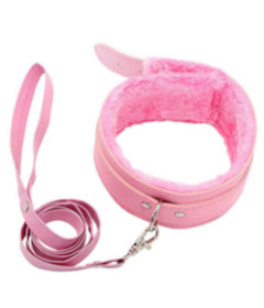 B-COL02PNK Fur Lined Collar & Lead Pink