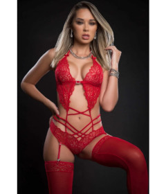 BL2088 - 2pc Lace Teddy W Garter Red