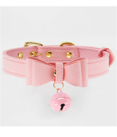 B-COL17PNK Pink Bow Collar with Cat Bell