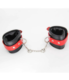 HAN066RED Padded Leather Cuffs Red