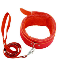 B-COL02RED Fur Lined Collar & Lead Red