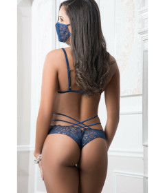 B2050 - 2pc Mask Up Lace Teddy Blue