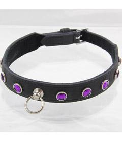 COL035PUR Dimante Collar Purple