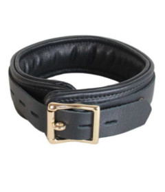 Leather Collar with Gold Hardware