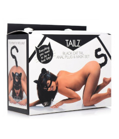 Black Cat Tail Anal Plug & Mask Set