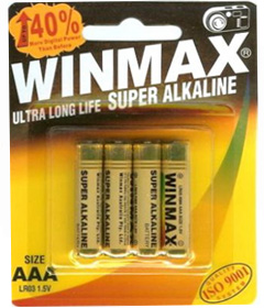 Winmax Super Alkaline AAA Batteries - 4 Pack