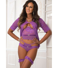 D1964 - Open Top Robe & Cheekini Purple
