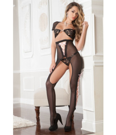 B1706 - Cut Out Bodystocking Black