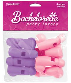 BP Pink & Purple Whistles 8 Pack