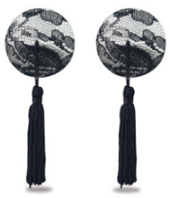 Reusable Black Lace Round Tassel Pasties