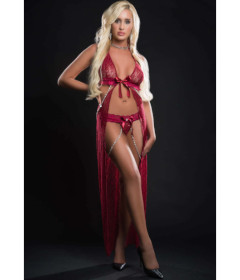 BL2084 - 2pc Gown & Pearl Chains Red