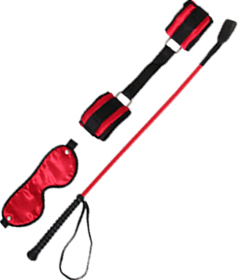 SET050RED - Blinfold, Whip, Crop Red