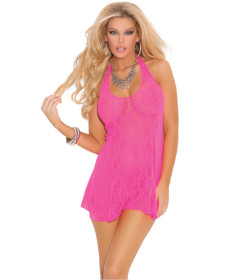 EM Lace Halter MiniDress Queen Pink