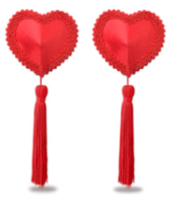 Reusable Red Heart Tassels Nipple Pastie