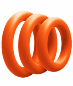 RIN027ONG 3 Pack Silicone Cock Ring Orange