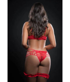 BL2009 - 2pc Caged Teddy Lace Garter Red