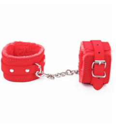 B-HAN02RED Fur Lined Cuffs Red