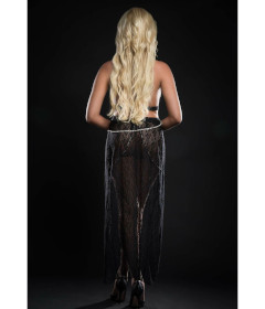 BL2084 - 2pc Gown & Pearl Chains Blk