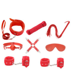 KIT001RED 9 Piece Bondage Kit Red