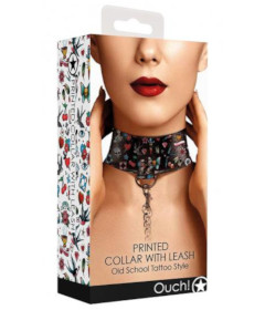 Ouch - Printed Collar With Leash