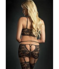 BL2003 - 3pc Zip Skirt W Top & Stockings