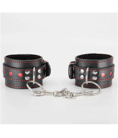 B-HAN01 Black & Red Heart Cuffs