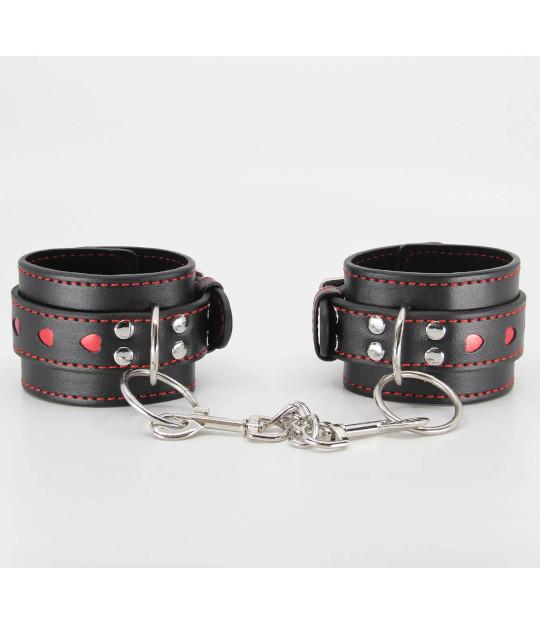 B-HAN01 Black & Red Heart Cuffs