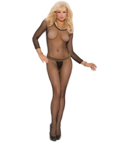 EM Long Sleeve Fishnet Body-stocking Black OS