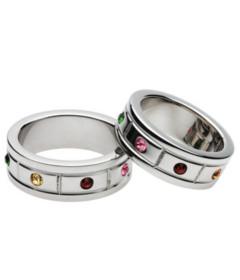 Steel Gemstone Chunky C-Ring 15x50mm