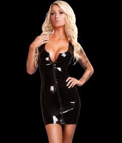 Saxenfelt Rubber Mini Dress Zip Black Large